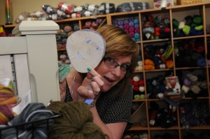 We stopped at the Village Yarn Shoppe to see Susie's friend Beth, too. She played peek-a-boo with Flat Mark in the yarn.