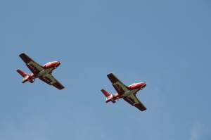 Then we saw the Snowbirds Canadian air demonstration squadron while we were in Comox! Susie LOVES the Snowbirds.
