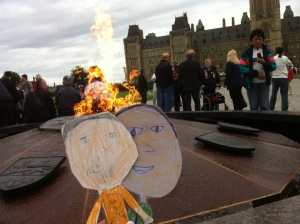 The Centennial Flame burns all the time on Parliament Hill. It was first lit on January 1, 1967 to celebrate Canada's 100th birthday. It's called an eternal flame.