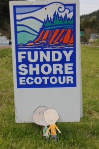 A sign showing that we were travelling on the Bay of Fundy shore.
